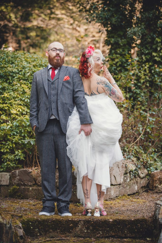 Vintage burlesque wedding photography at Brownsover Hall Rugby – Emma & Josh