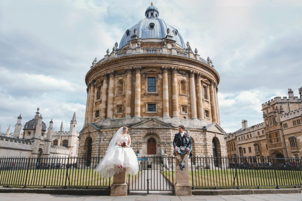 Oxford wedding photography Radcliffe Camera bride and groom portrait