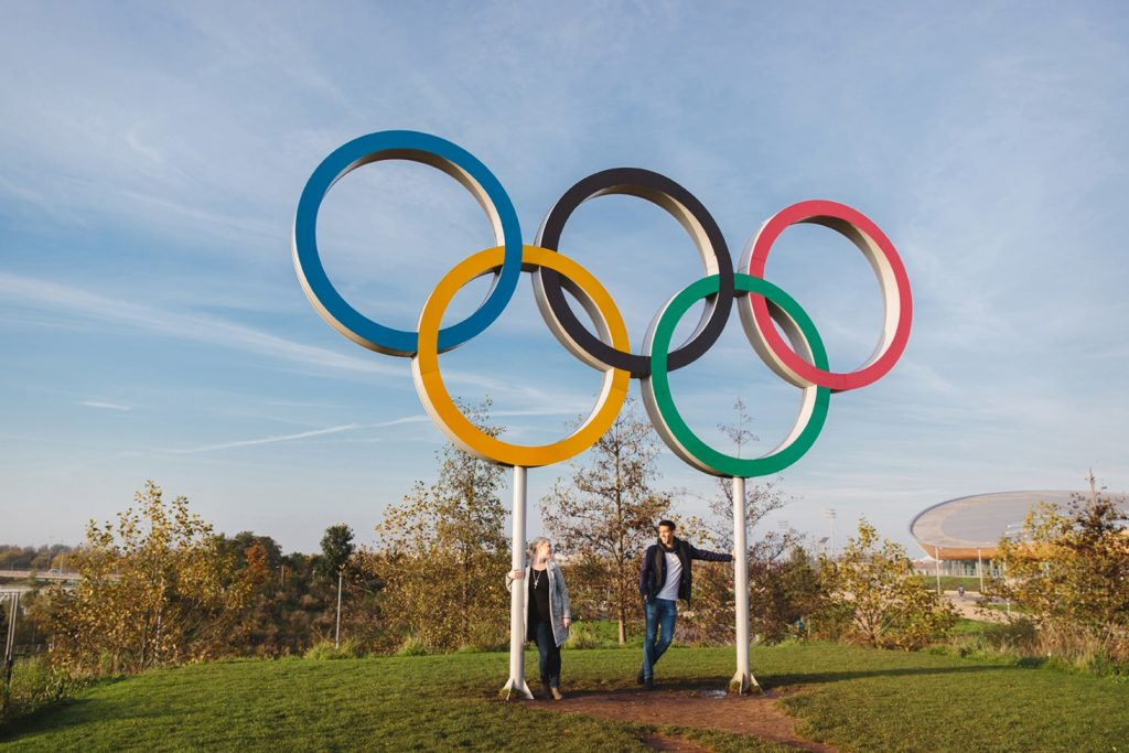 Stratford London Olympic park engagement shoot –  Sarah and Rich
