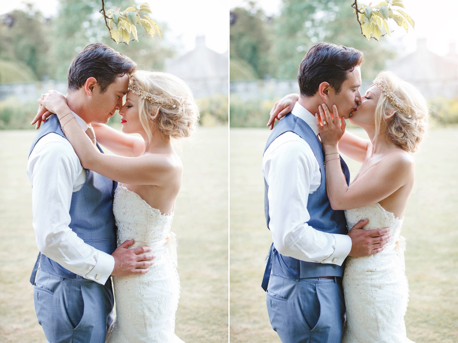 grom dipping the bride with a kiss at the rectory hotel crudwell wedding couple