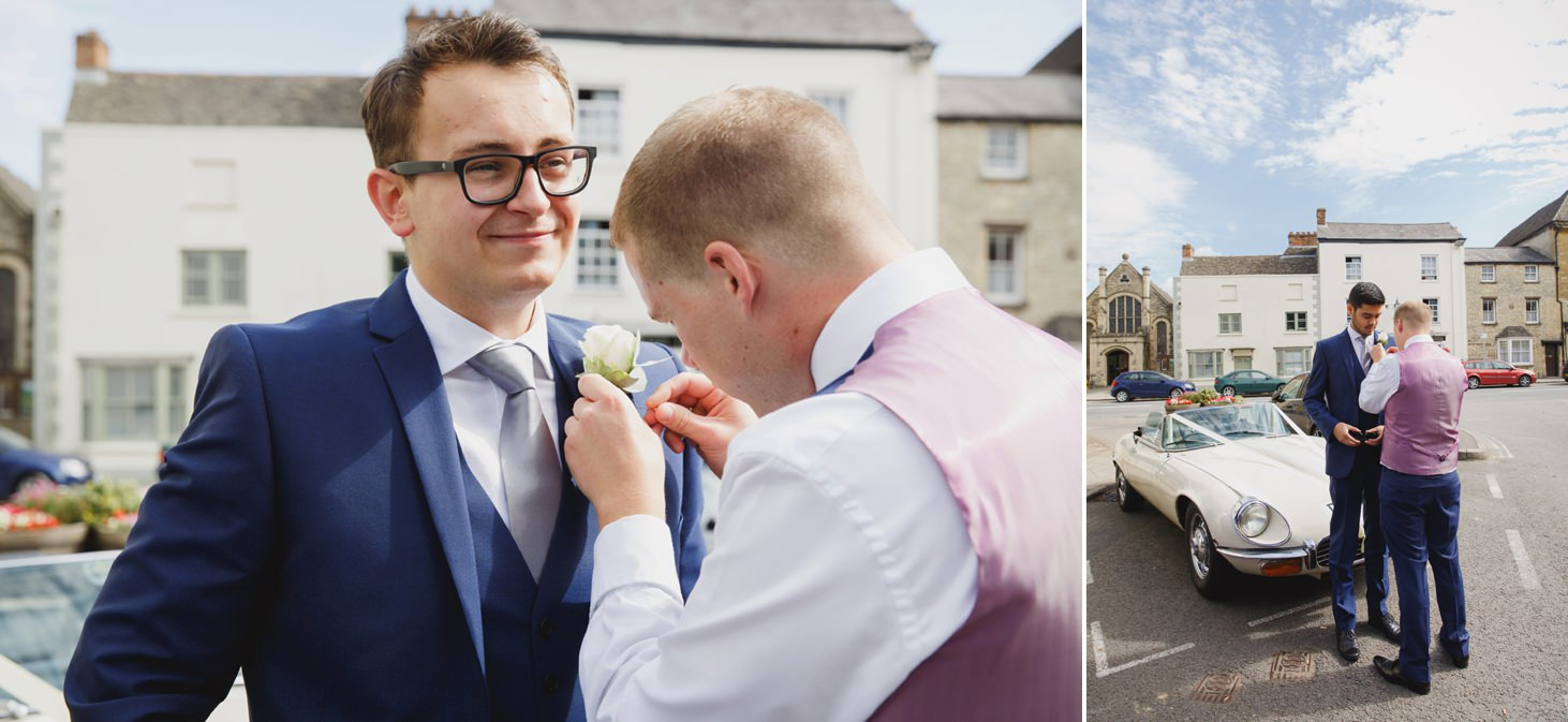 oxfordshire wedding photography groomsmen and button holes