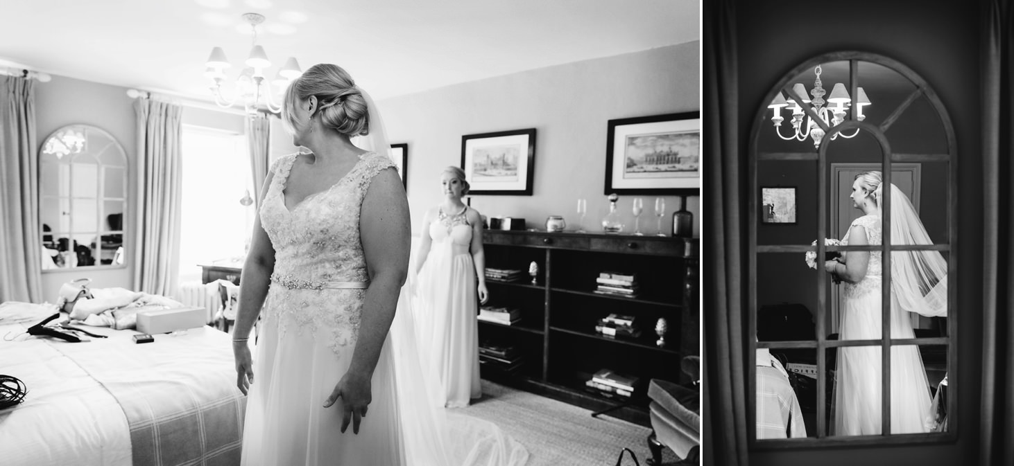 oxfordshire wedding photography bride checking her dress