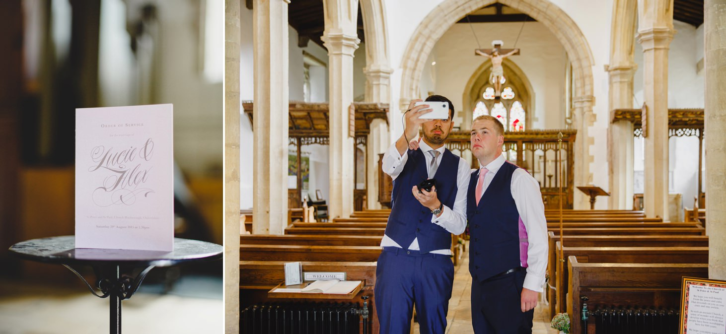 oxfordshire wedding photography groom inside church