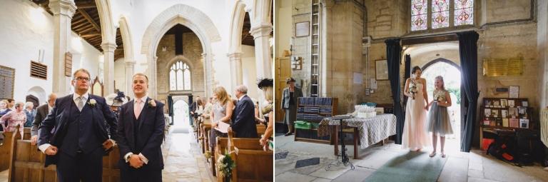 oxfordshire wedding photography bridesmaids walking down aisle