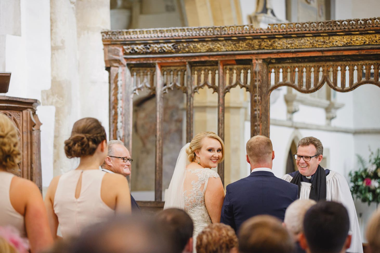 oxfordshire wedding photography bride smiling in church