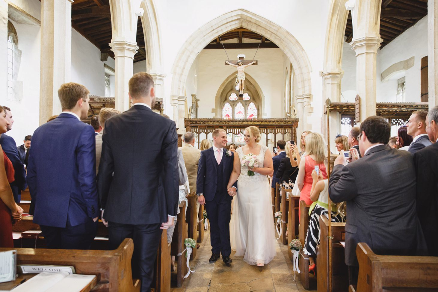 oxfordshire wedding photography bride and groom in aisle