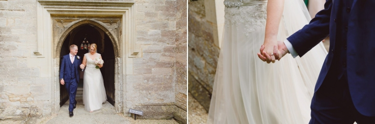 oxfordshire wedding photography bride and groom emerge form church