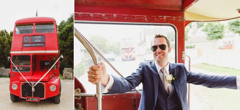 oxfordshire wedding photography guests aboard bus