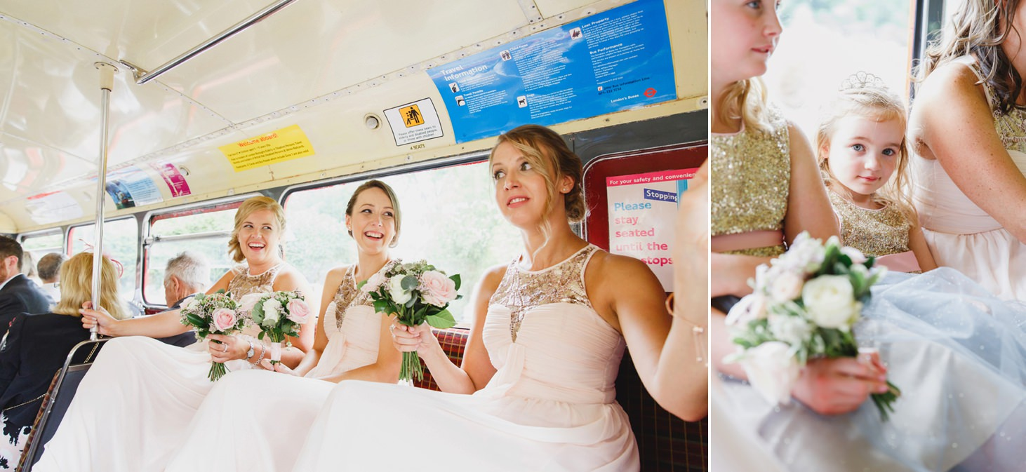 oxfordshire wedding photography bridesmaids on bus