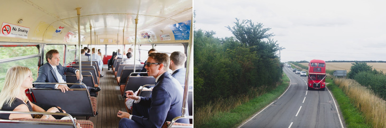 oxfordshire wedding photography guests aboard vintage bus