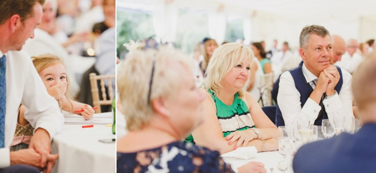 oxfordshire wedding photography guests listening to speeches