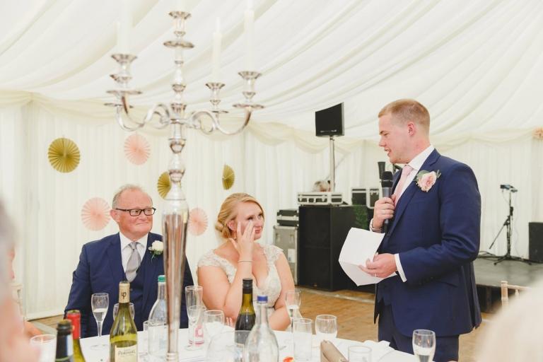 oxfordshire wedding photography grooms speech to bride