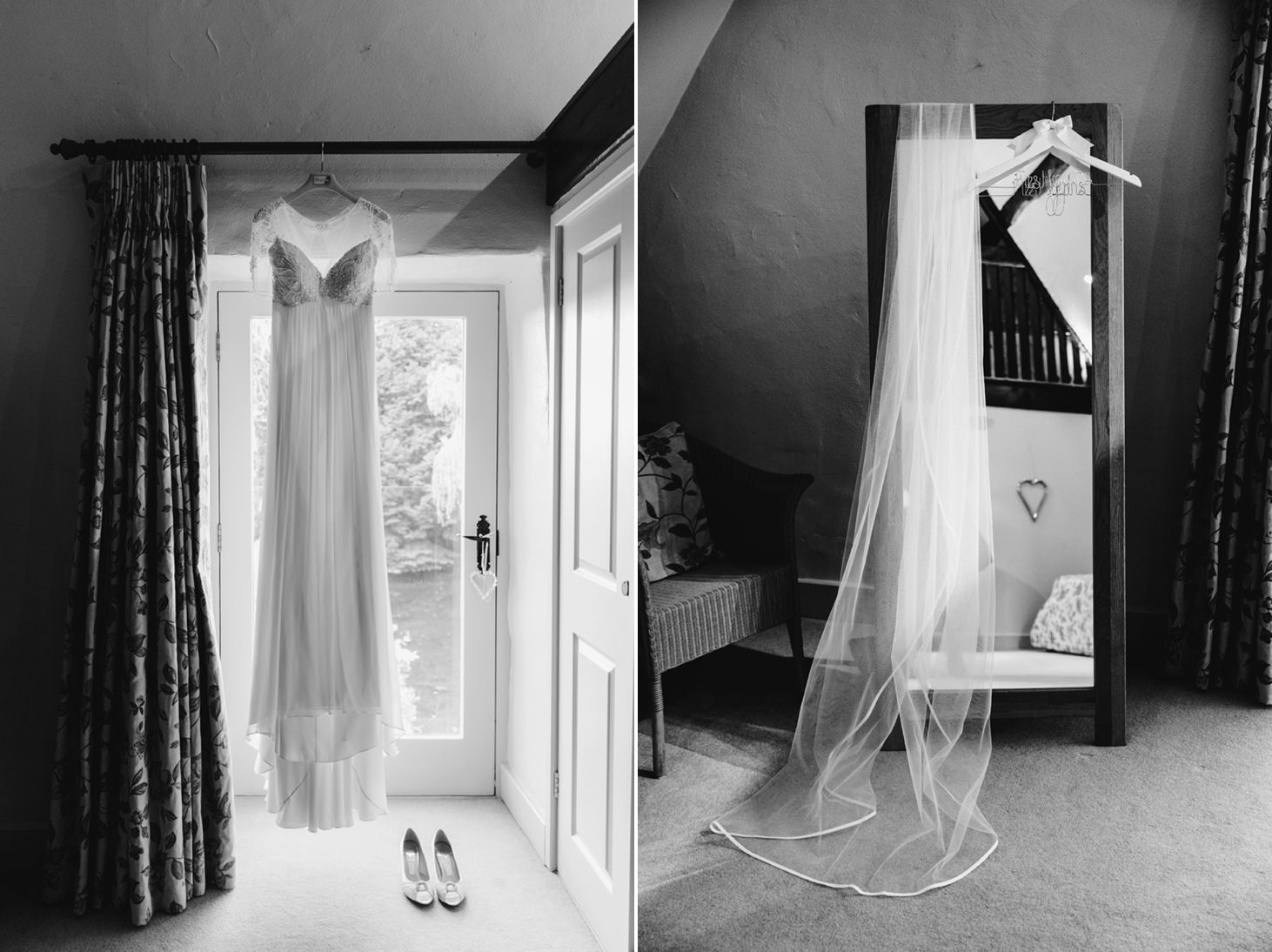 Caswell House wedding photography bride dress and veil