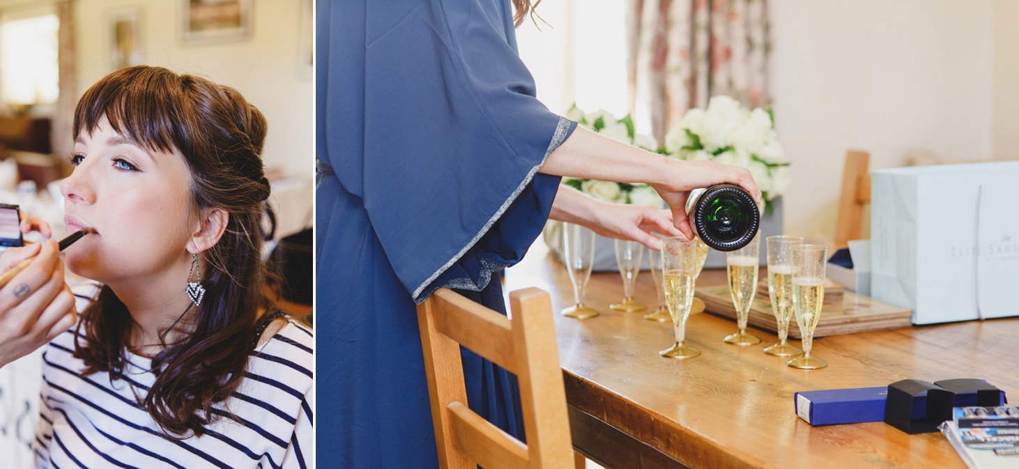 Caswell House wedding photography champagne