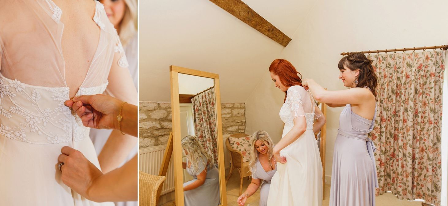 Caswell House wedding photography bridesmaids helping bride