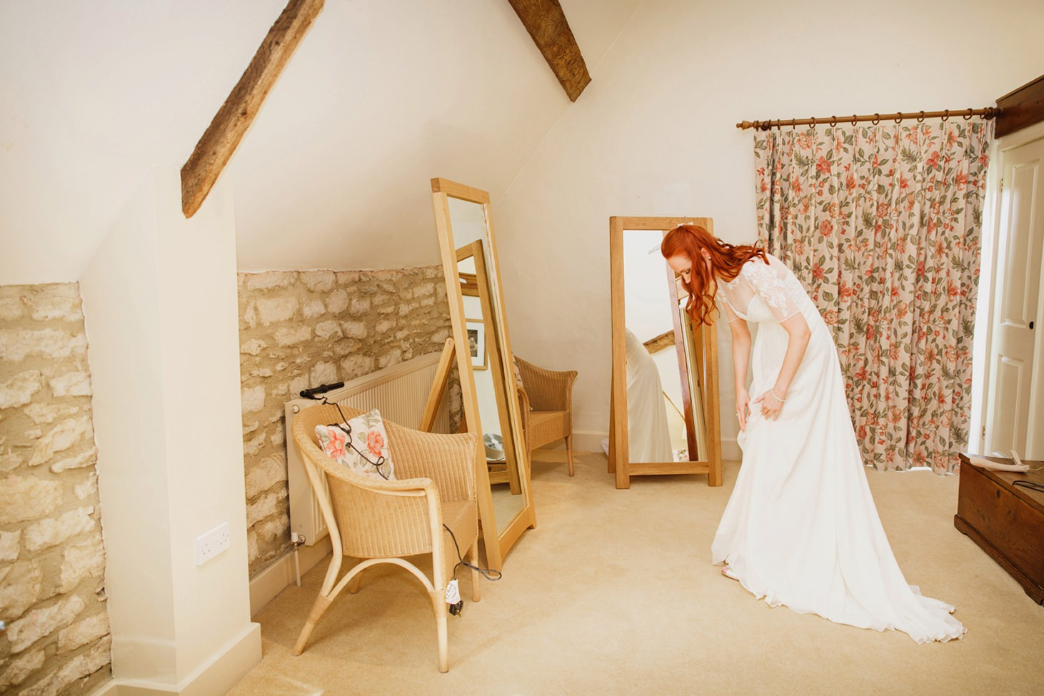 Caswell House wedding photography bride getting ready with dress