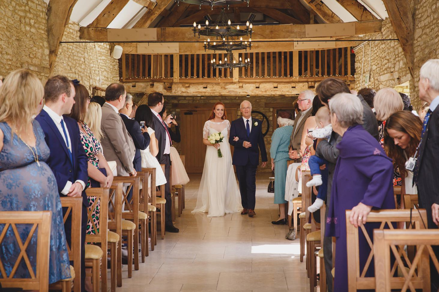 Caswell House wedding photography bride walking down aisle