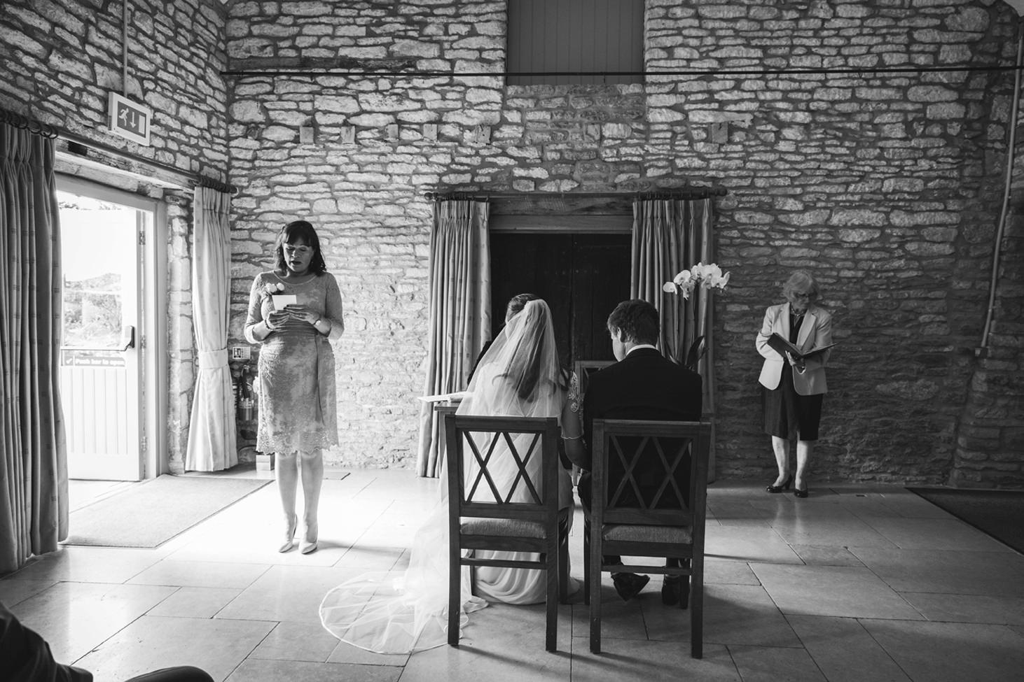 Caswell House wedding photography ceremony reading