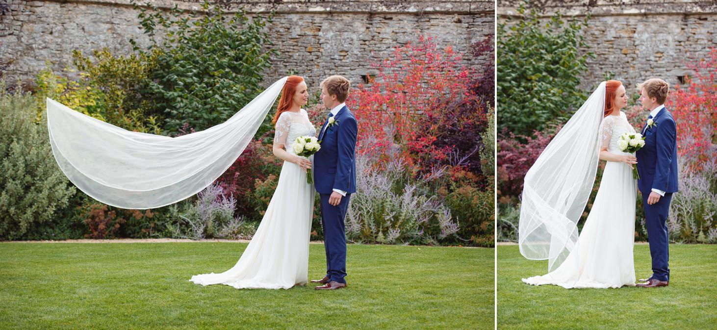 caswell house wedding photography bride and groom together in garden