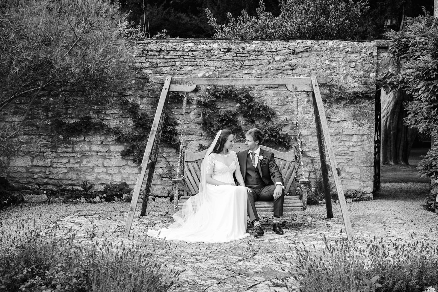 caswell house wedding photography bride and groom on swing
