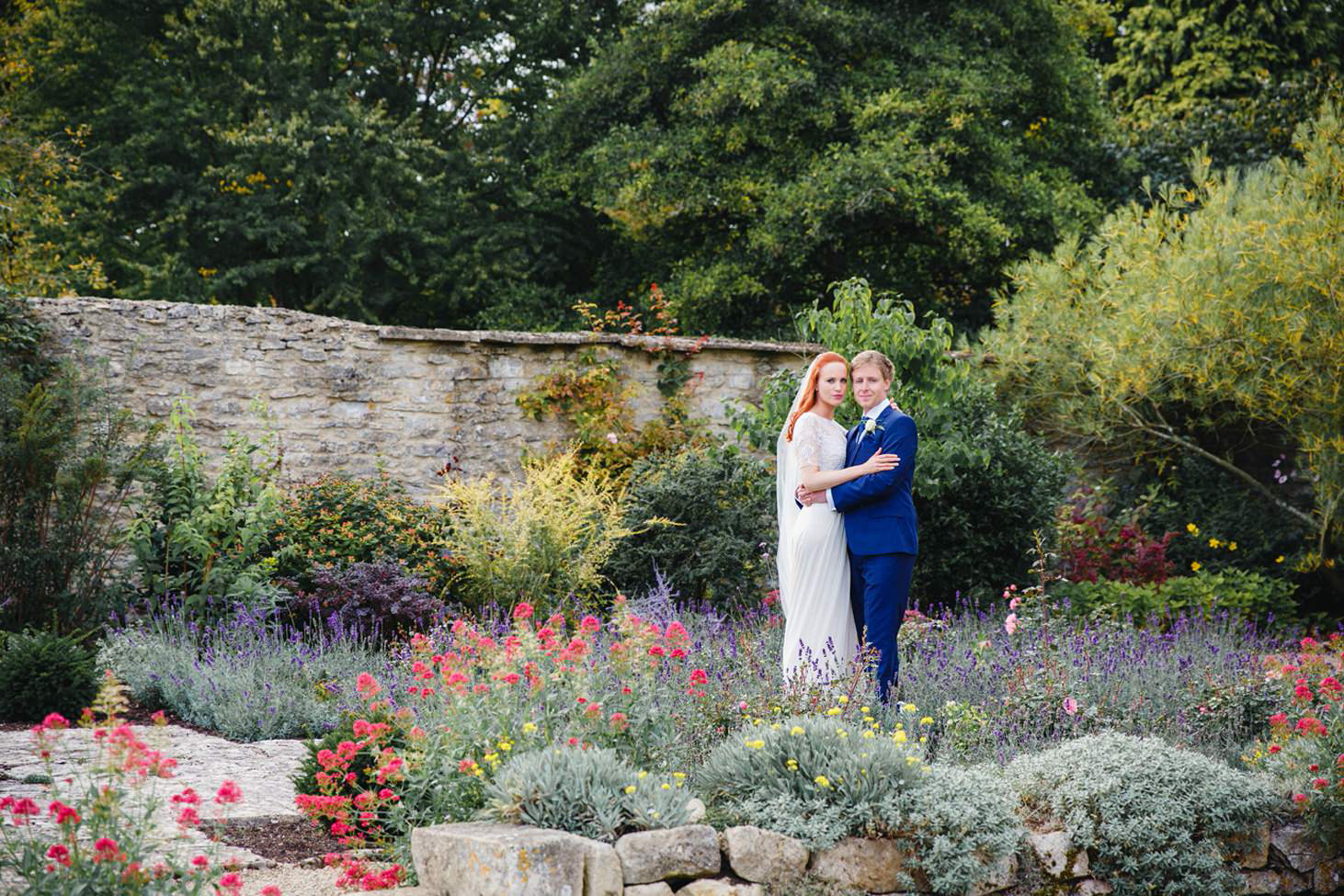 caswell house wedding photography bride and groom in flower garden