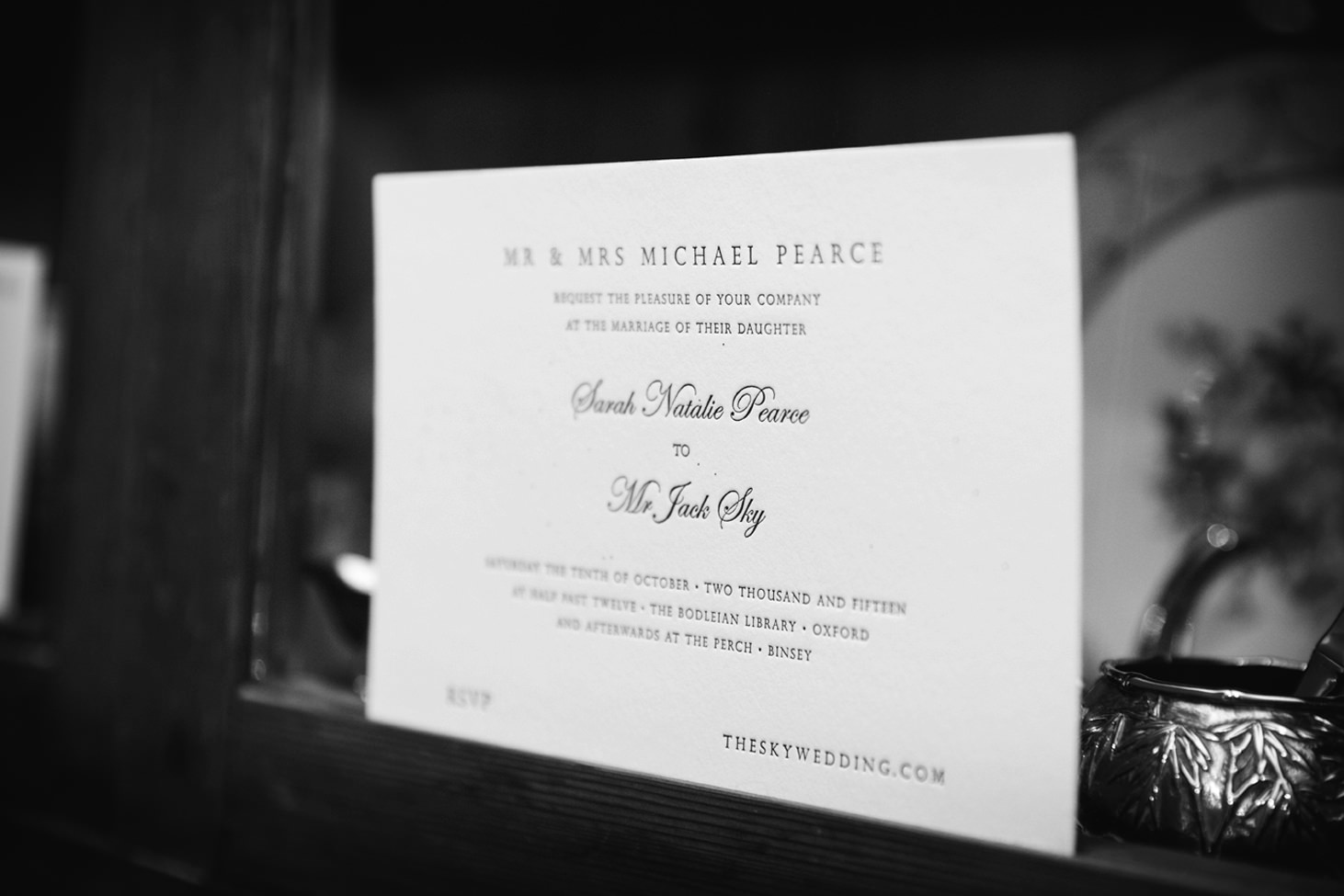 Bodleian library wedding invitation