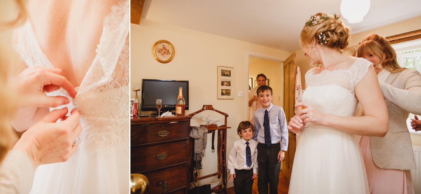 Bodleian library wedding zipping up bride dress