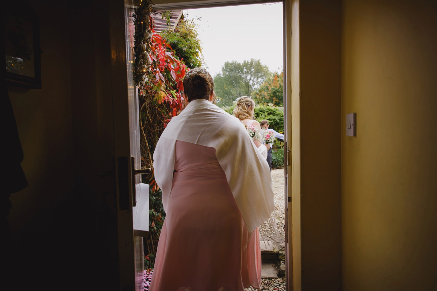 Bodleian library wedding bridesmaid in doorway