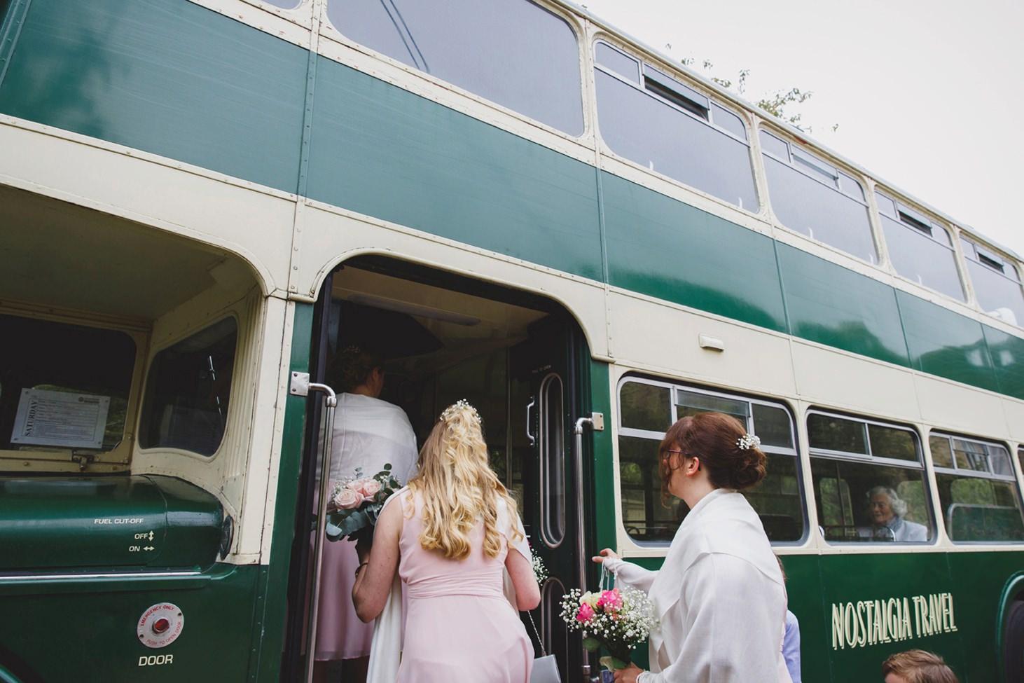 Bodleian library wedding getting on bus