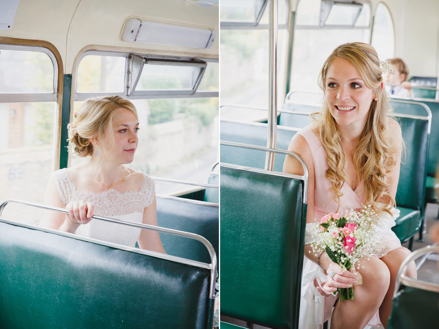 bridesmaids on vintage bus