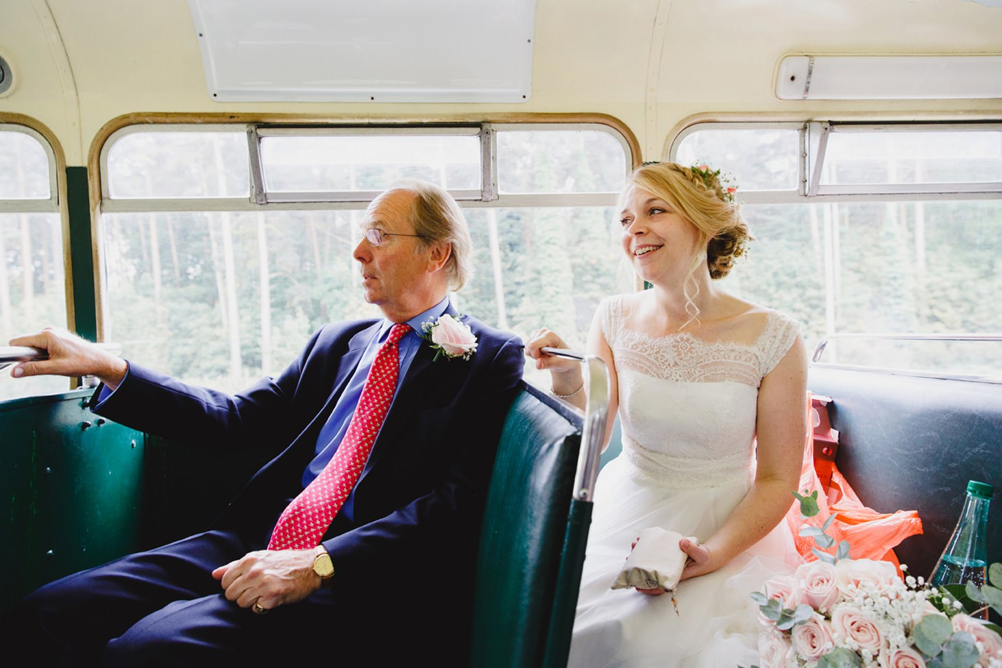 Bodleian library wedding bride and her father on bus
