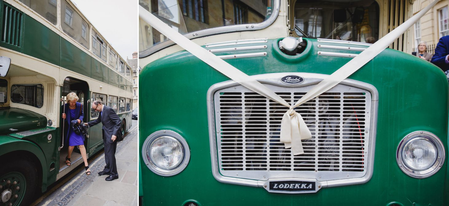 Bodleian library wedding vintage wedding bus detail