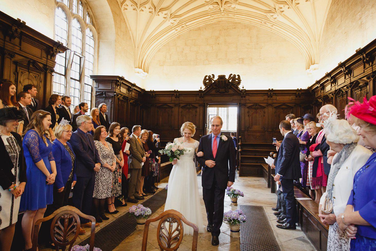 Bodleian library wedding bride walking down aisle