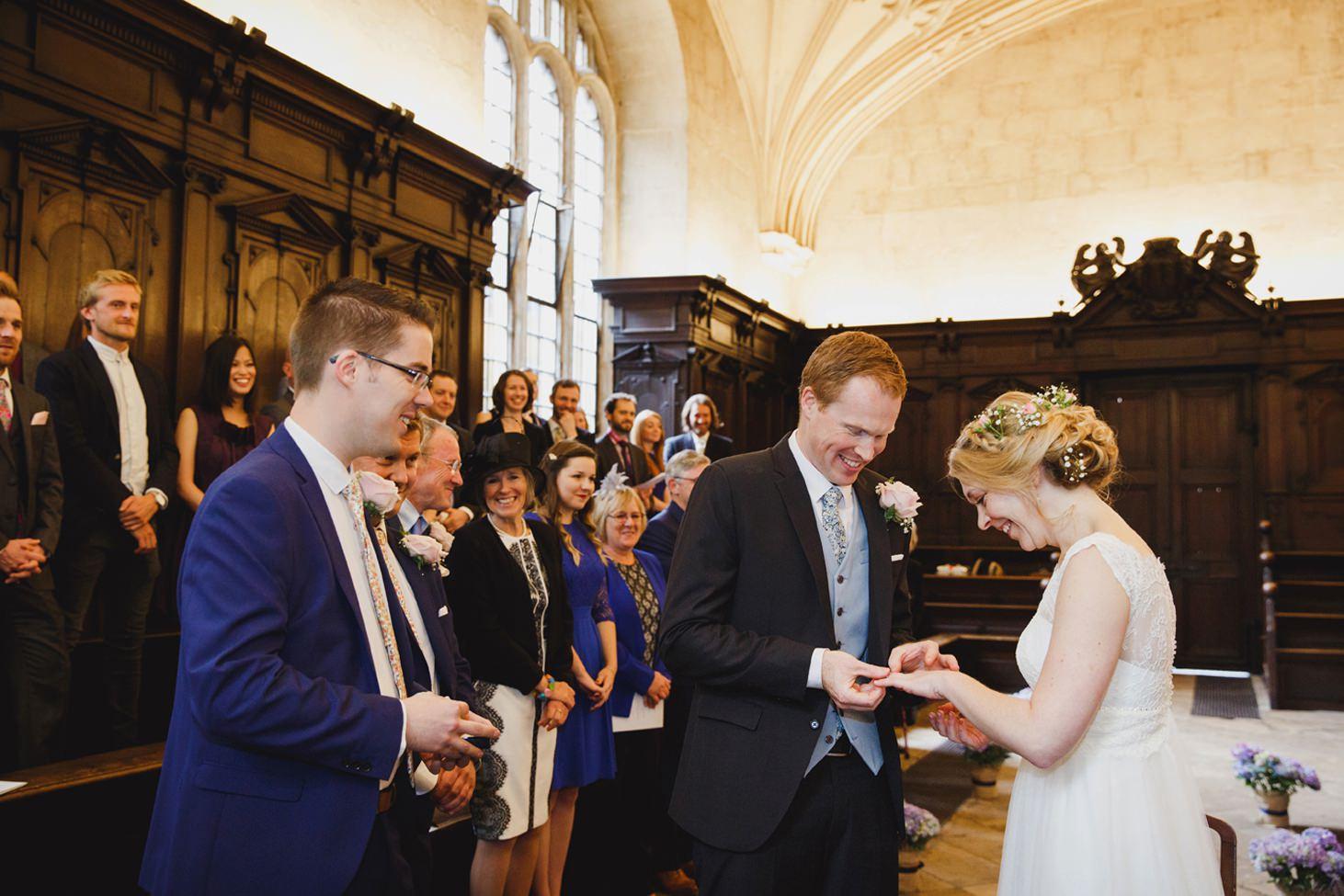 Bodleian library wedding groom exchange rings