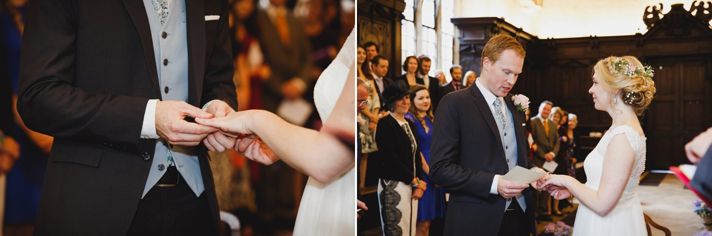 Bodleian library wedding bride exchanging rings