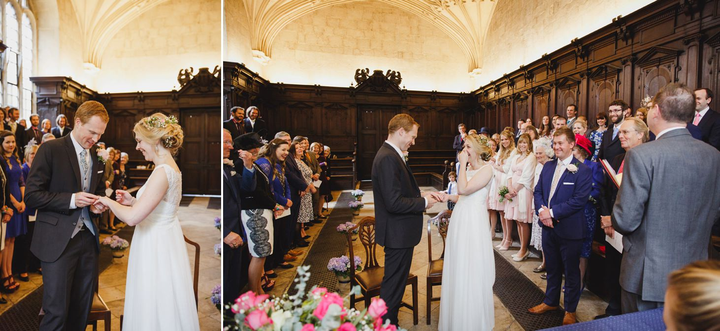 Bodleian library wedding bride and groom laughing