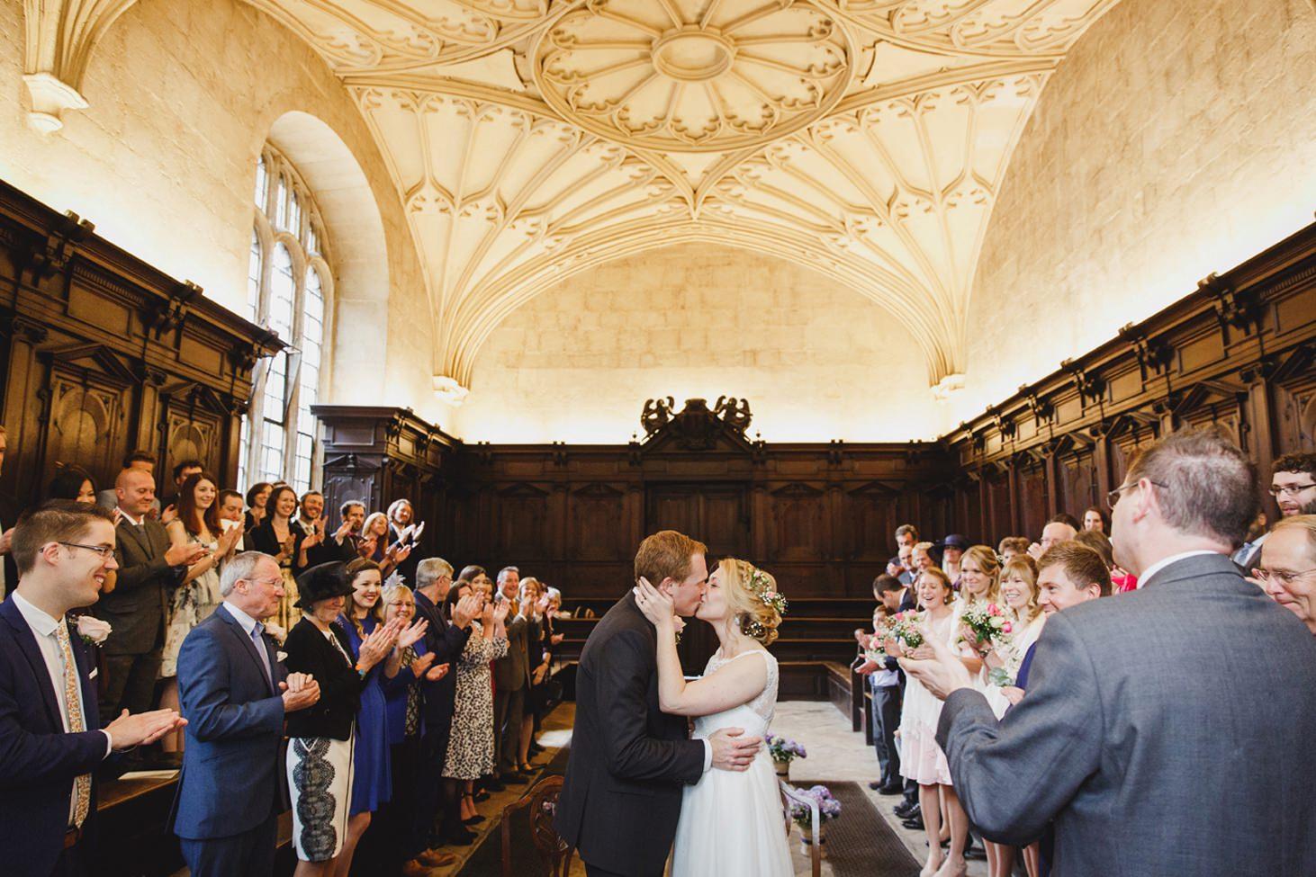 Bodleian library wedding first kiss