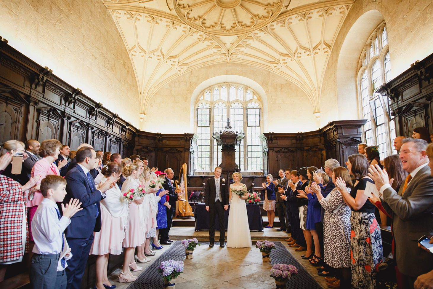 Bodleian library wedding bride and groom at end of altar
