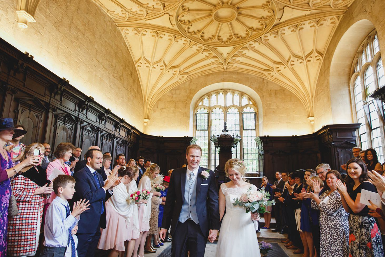 Bodleian library wedding bride and groom leaving