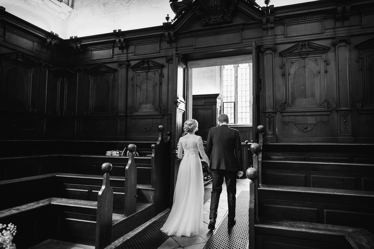Bodleian library wedding bride and groom exit