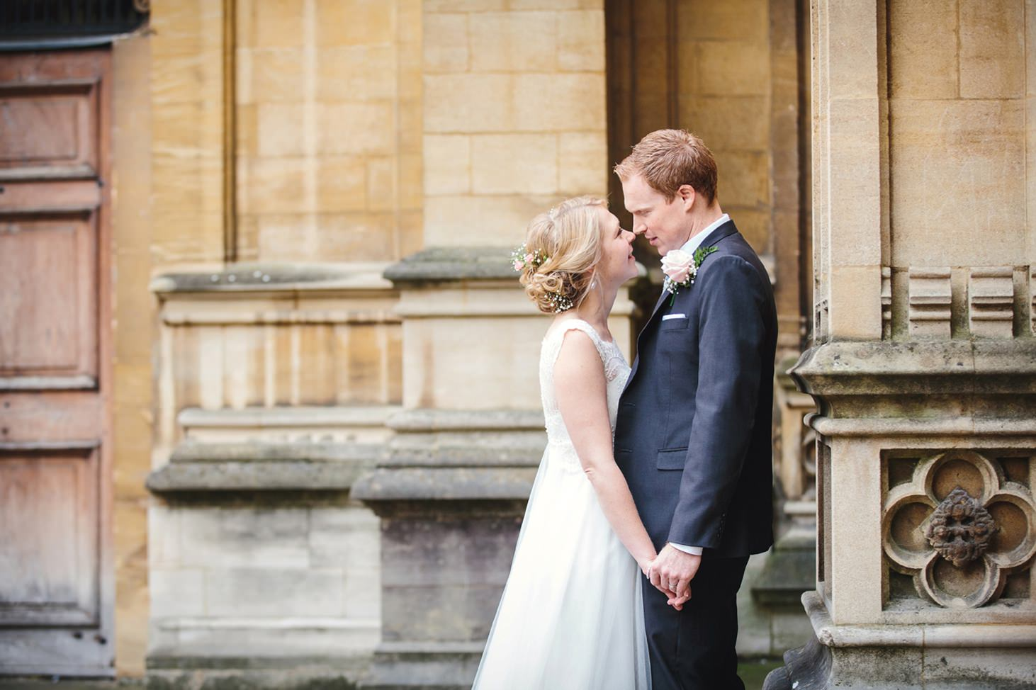 Bodleian library wedding bride and groom together at library