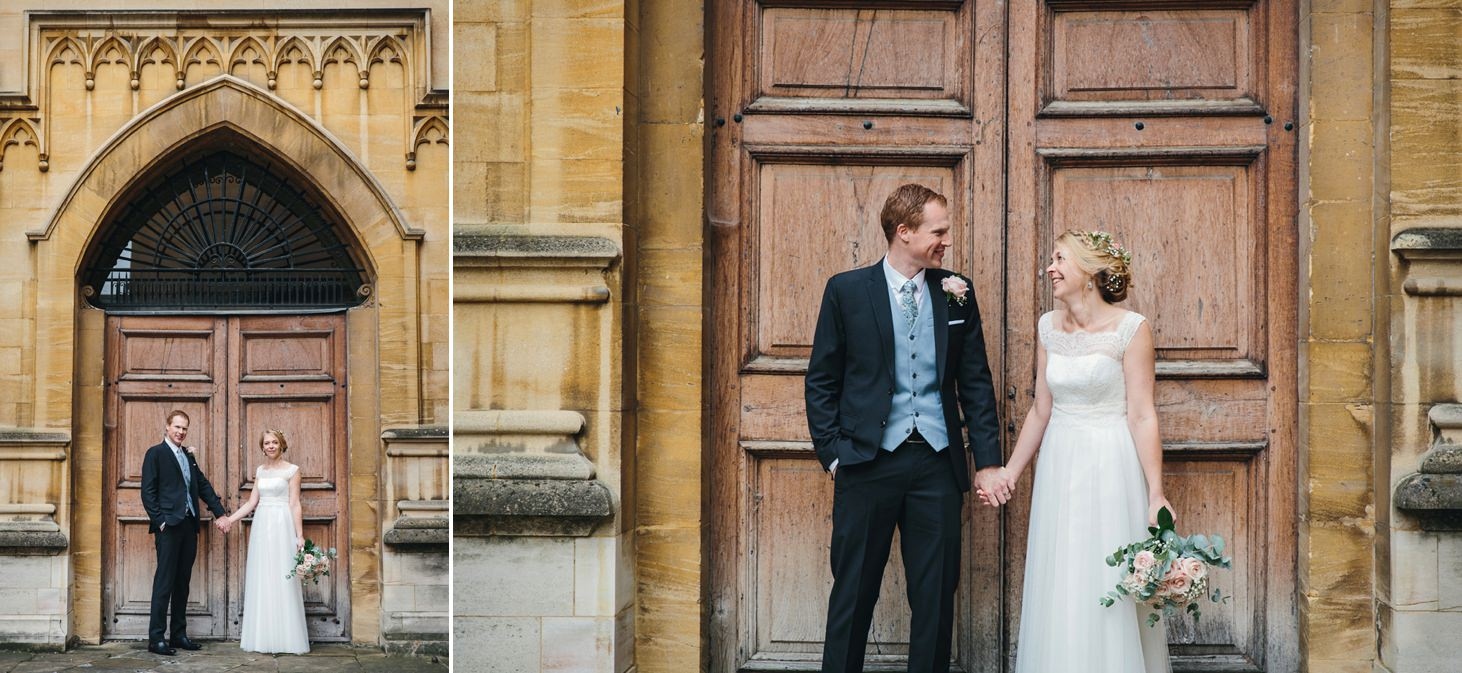 Bodleian library wedding bride and groom by doors