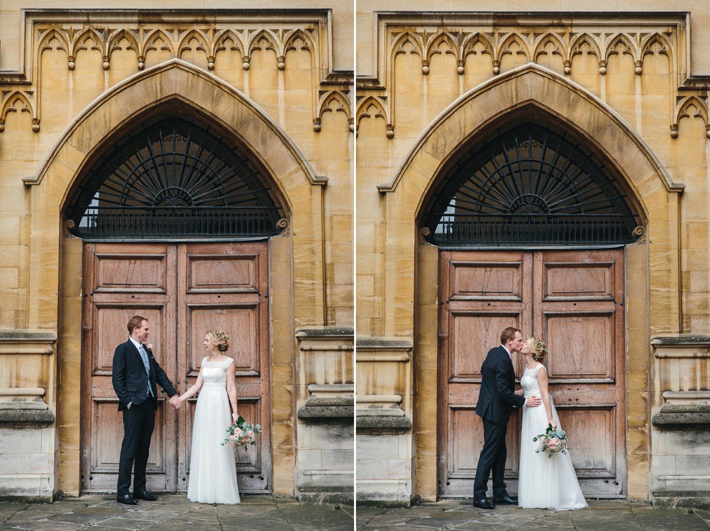 Bodleian library wedding bride and groom by doorway