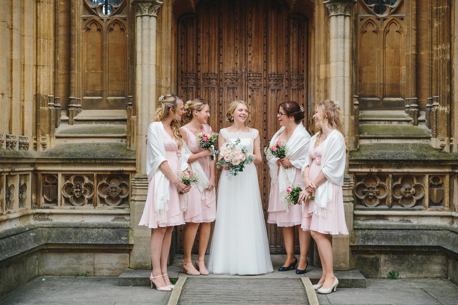 Bodleian library wedding bridesmaids and bride