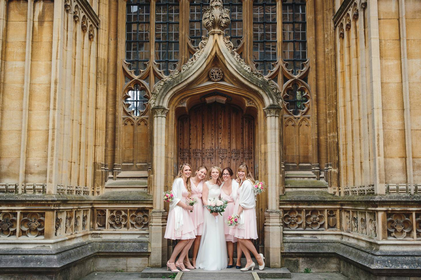 Bodleian library wedding bride and bridesmaids