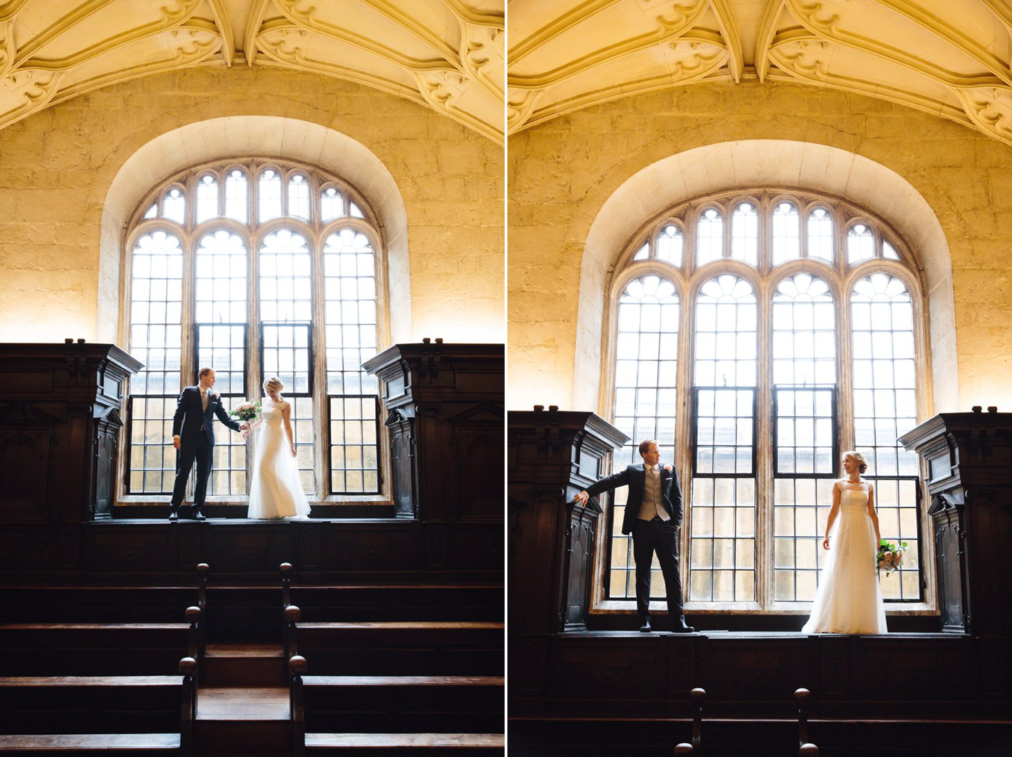 Bodleian library wedding bride and groom inside library