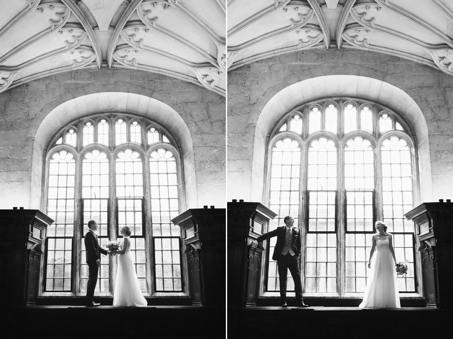 Bodleian library wedding window portrait