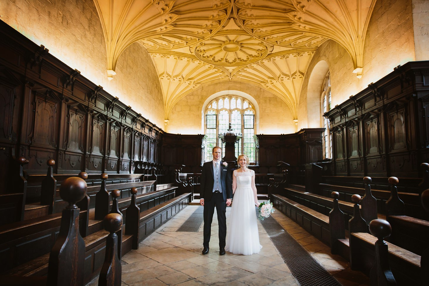 Bodleian library wedding bride and groom in empty library