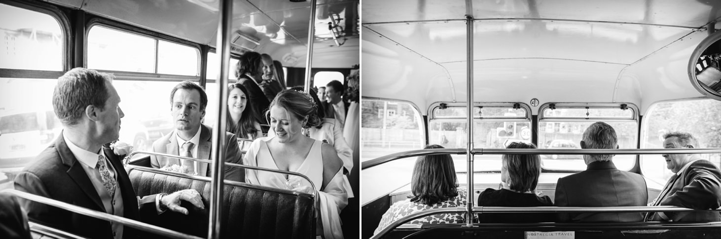 Bodleian library wedding guests on bus