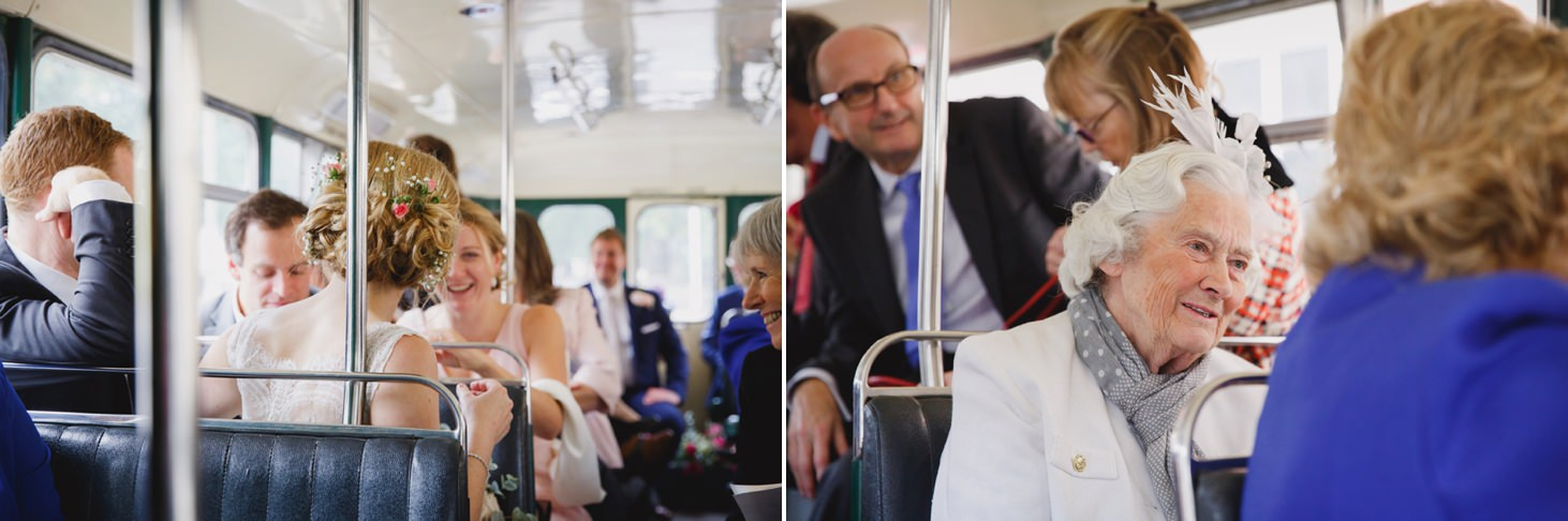Bodleian library wedding wedding guests sat on bus